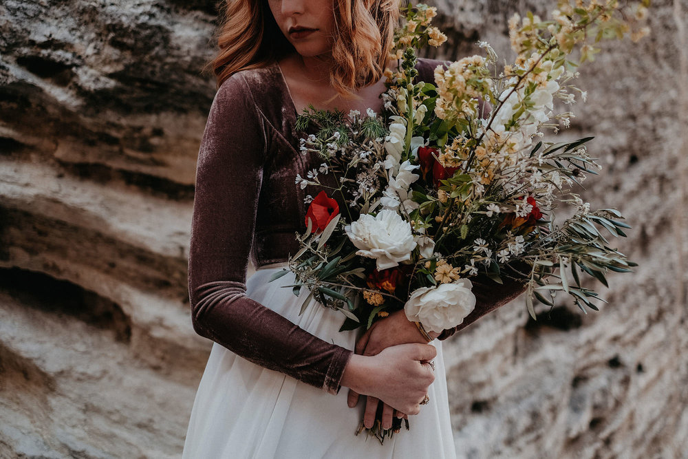 goult provence france elopement vow renewal bride holding bouquet photo