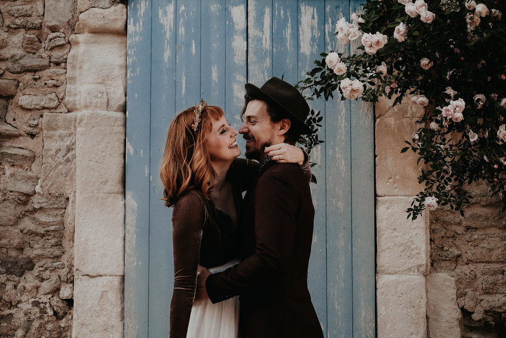 goult provence france elopement vow renewal couple laughing photo