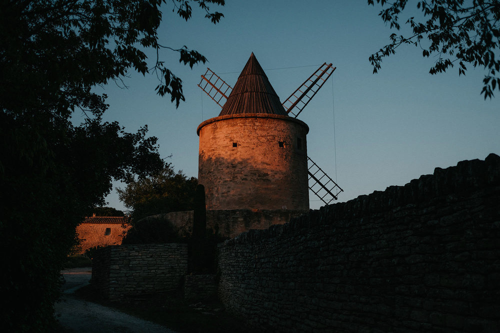 goult provence france windmill sunset photo