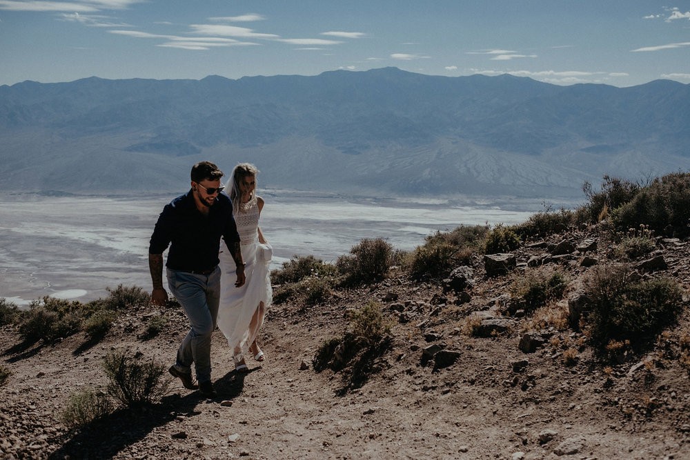 death valley adventure elopement wedding photographer national park couple walking portrait