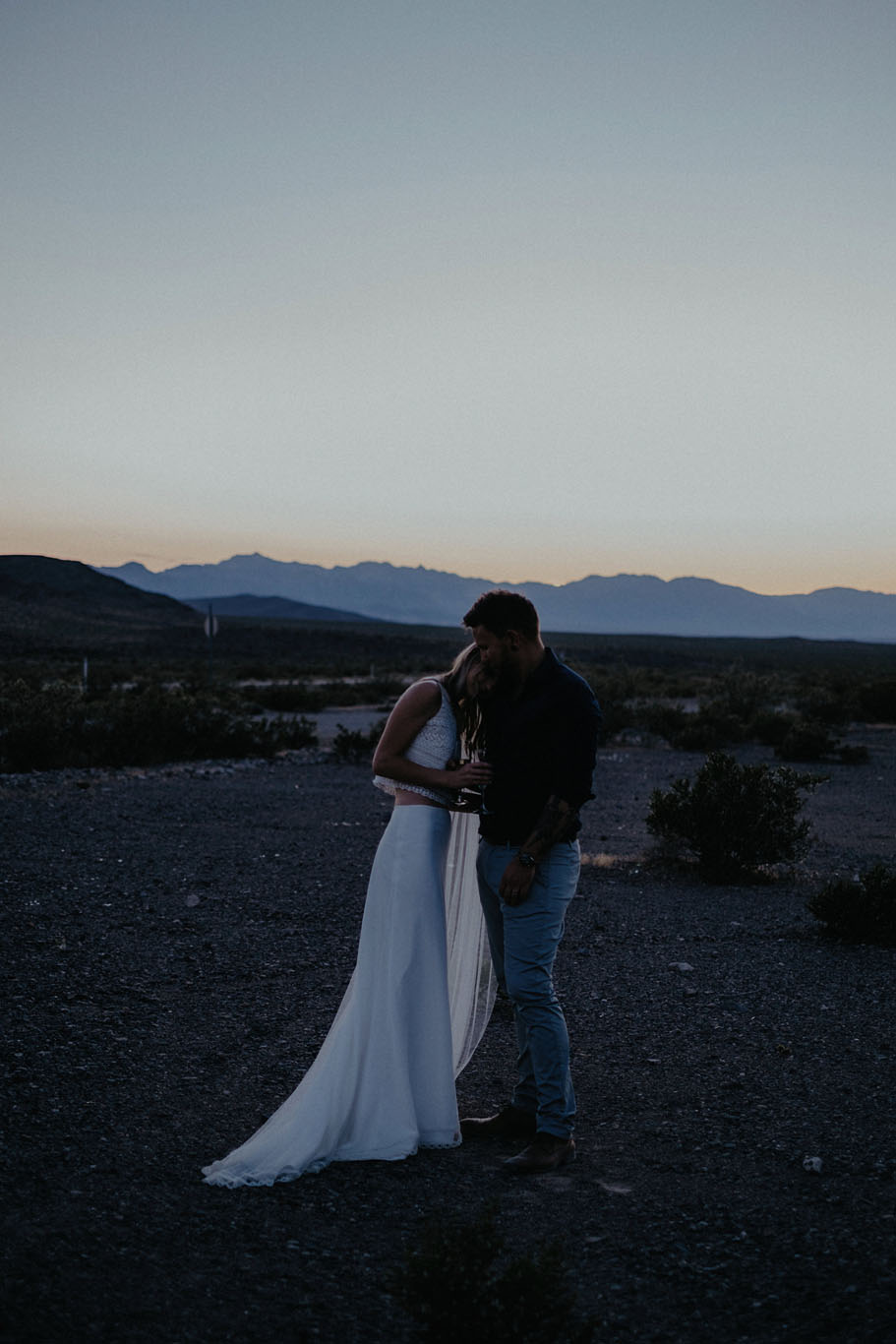 death valley adventure elopement wedding photographer national park couple sunset portrait champagne