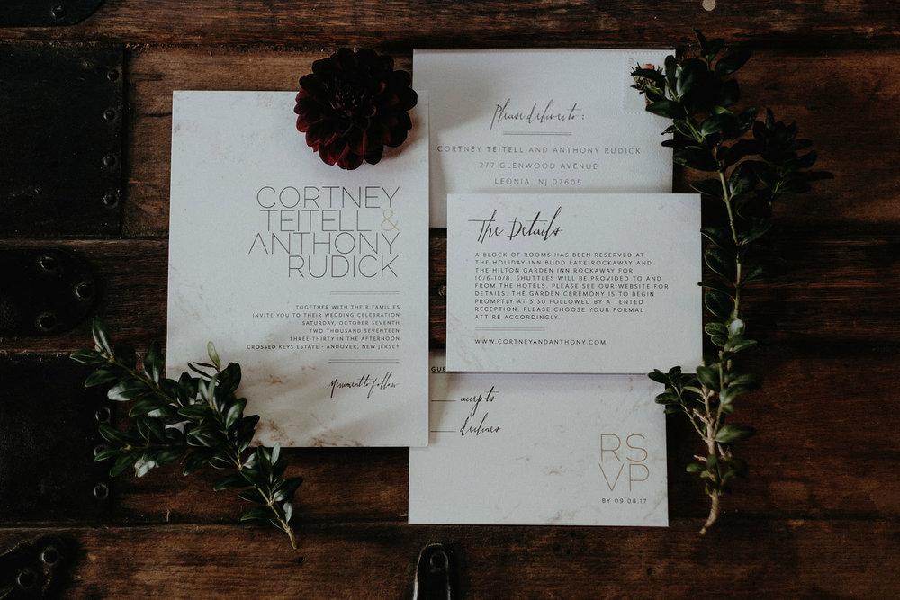 andover new jersey crossed keys estate adventure wedding photographer invitation details