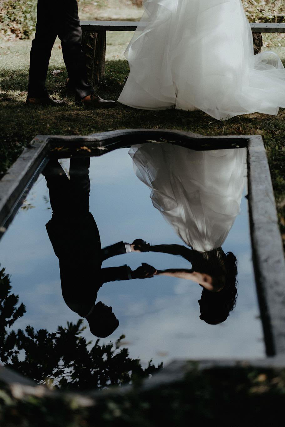 andover new jersey crossed keys estate adventure wedding photographer bride groom first look reflection