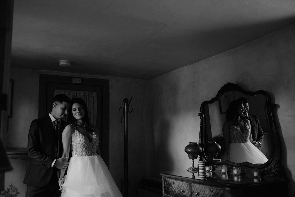 andover new jersey crossed keys estate adventure wedding photographer bride groom portrait mirror