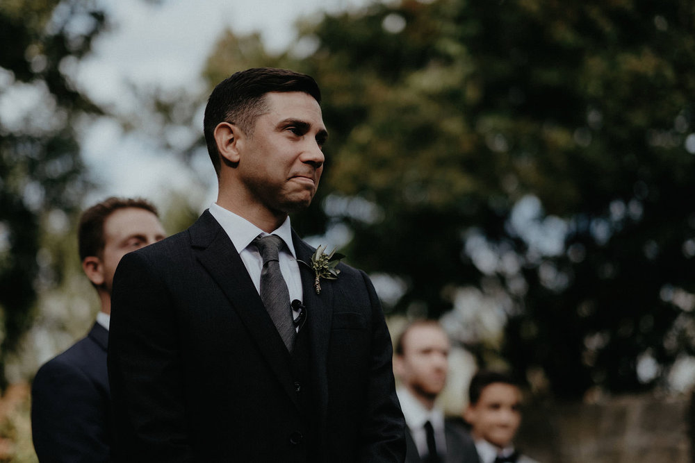 andover new jersey crossed keys estate adventure wedding photographer ceremony groom crying