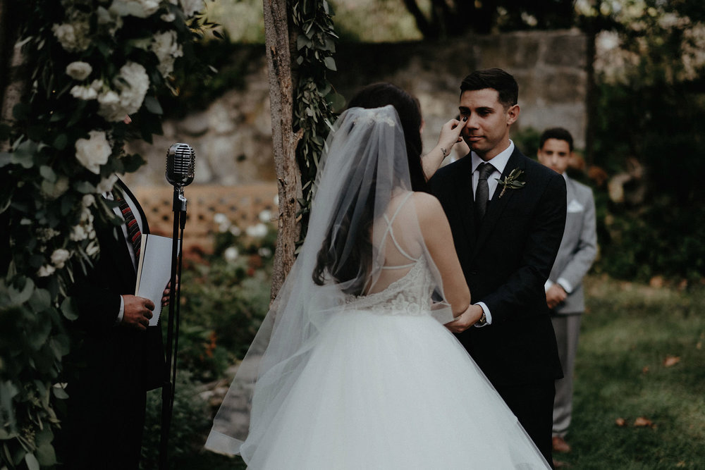andover new jersey crossed keys estate adventure wedding photographer ceremony bride wiping grooms tears