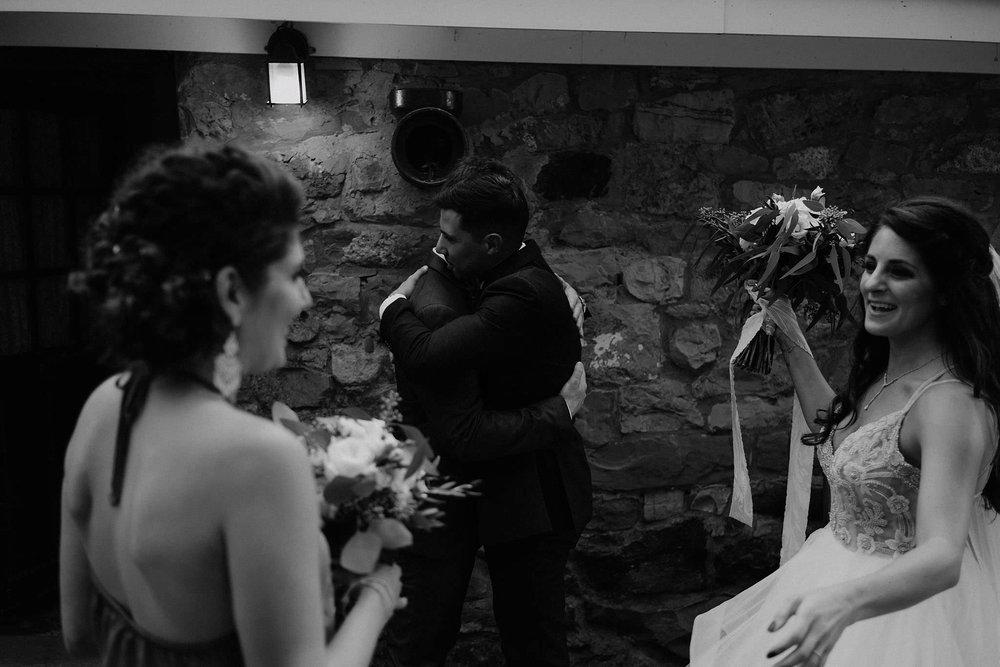 andover new jersey crossed keys estate adventure wedding photographer ceremony bride groom hugging guests