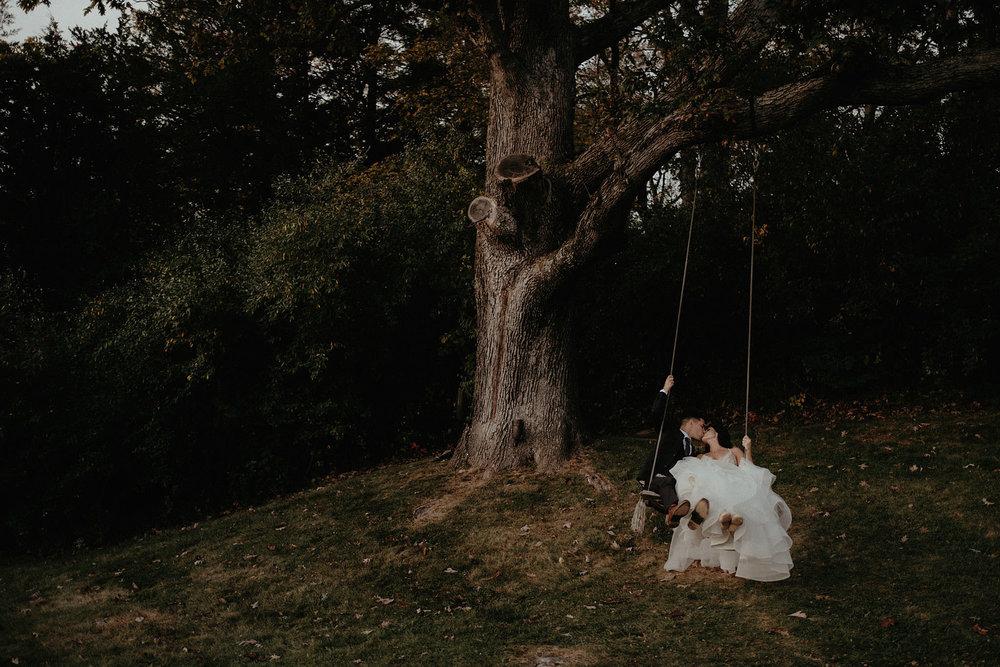 andover new jersey crossed keys estate adventure wedding photographer bride groom portrait tree swing