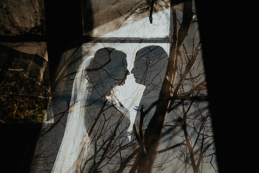 cincinnati warehouse wedding photographer bride and groom portrait double exposure