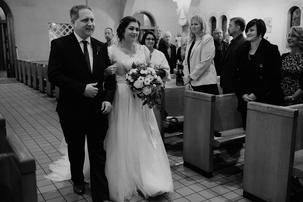 cincinnati warehouse wedding photographer cathedral church ceremony father walking bride down aisle