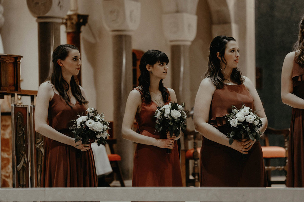 cincinnati warehouse wedding photographer cathedral church ceremony bridesmaids