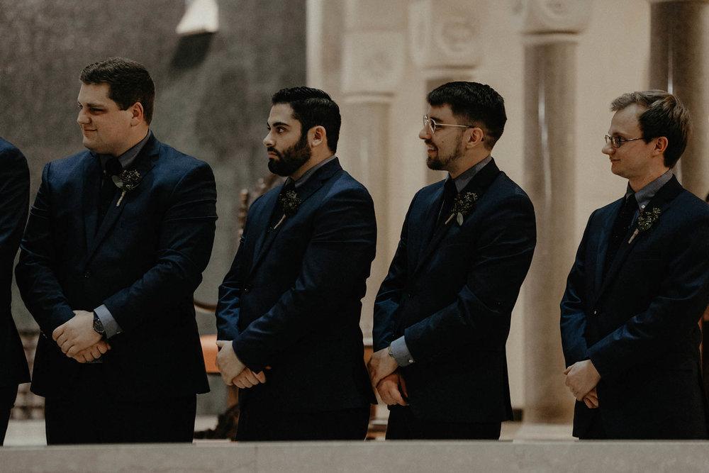 cincinnati warehouse wedding photographer cathedral church ceremony groomsmen