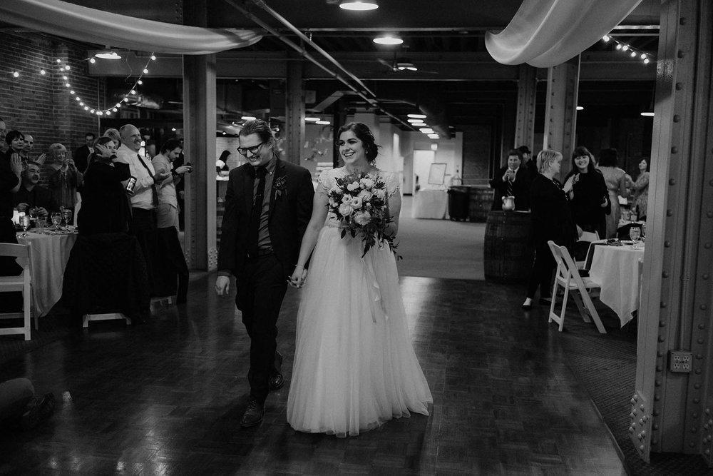 cincinnati warehouse wedding photographer reception bride groom