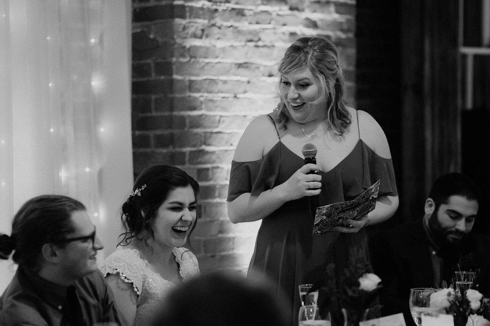 cincinnati warehouse wedding photographer reception bridesmaid speech