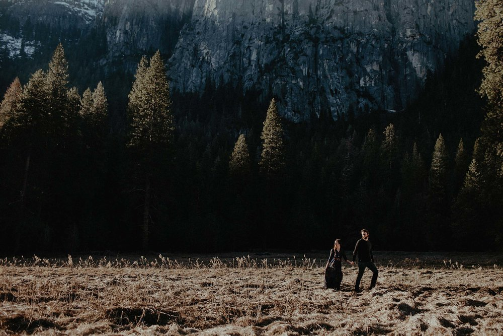 intimate wedding adventure session elopement photographer yosemite valley couple sunset field photo