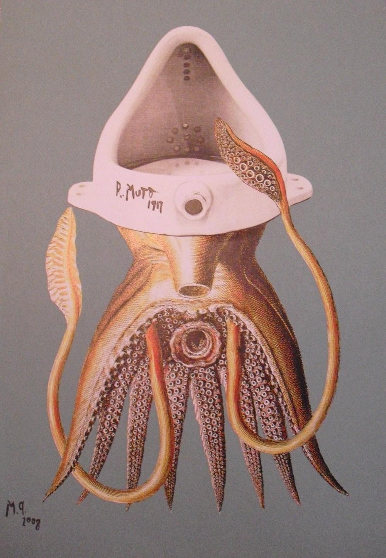 Maurizio Quarello  Calamaro  Acrilico su carta e collage