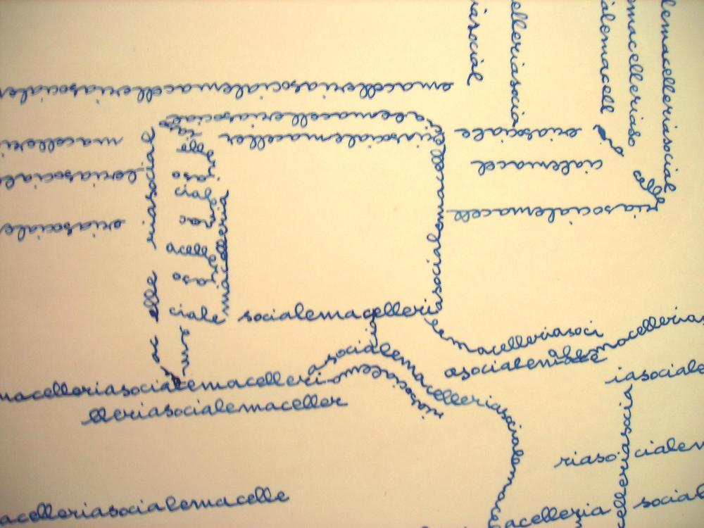 Luciano Pivotto  Reality, economia  (giugno, 2010) inchiostro di china e cera su carta  130 x 140 cm