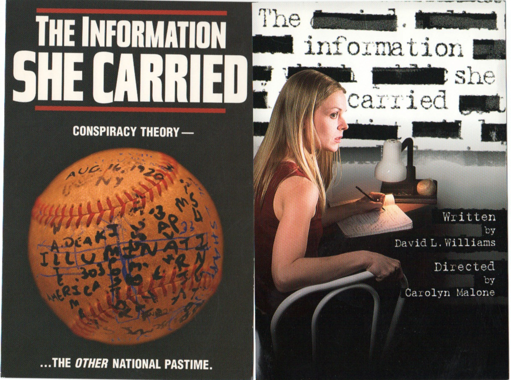 The postcards for the Fringe and non-Fringe productions of The Information She Carried