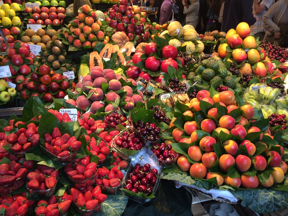 Fruit display from vendors at La Boqueria.