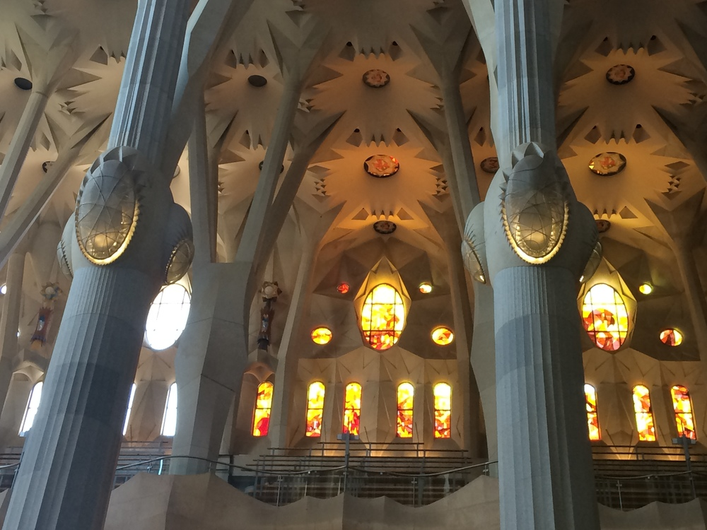 Interior view of La Sagrada Familia.