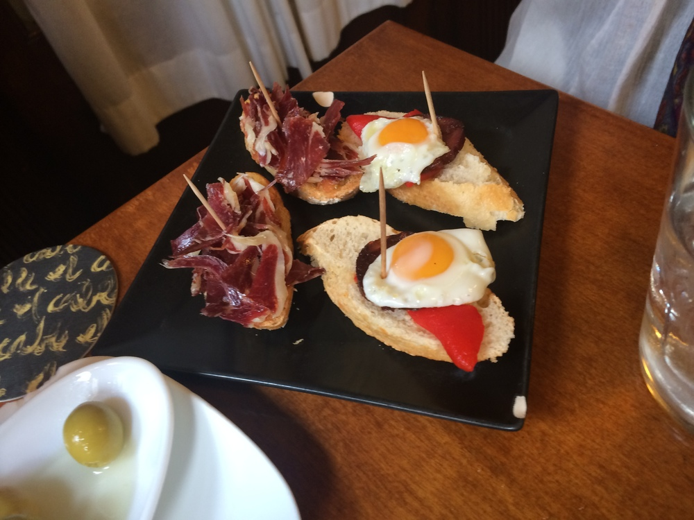 Jamon and egg tapas in Sitges.