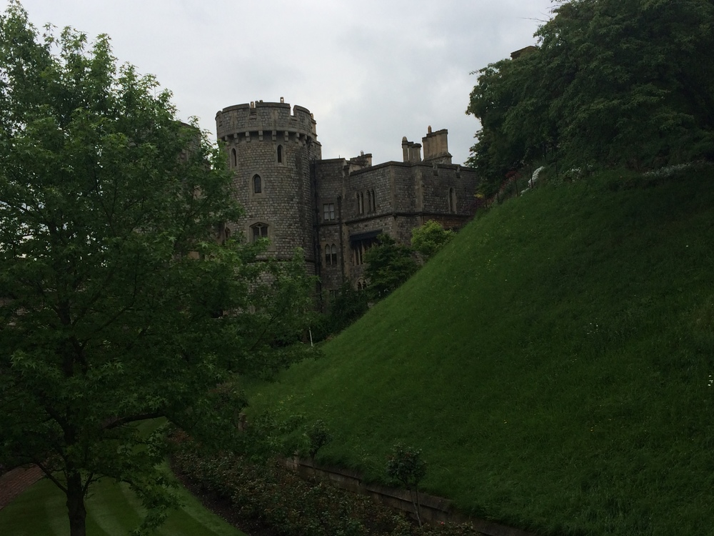 Windsor Castle.  The greenery in place now is where the mote used to be.