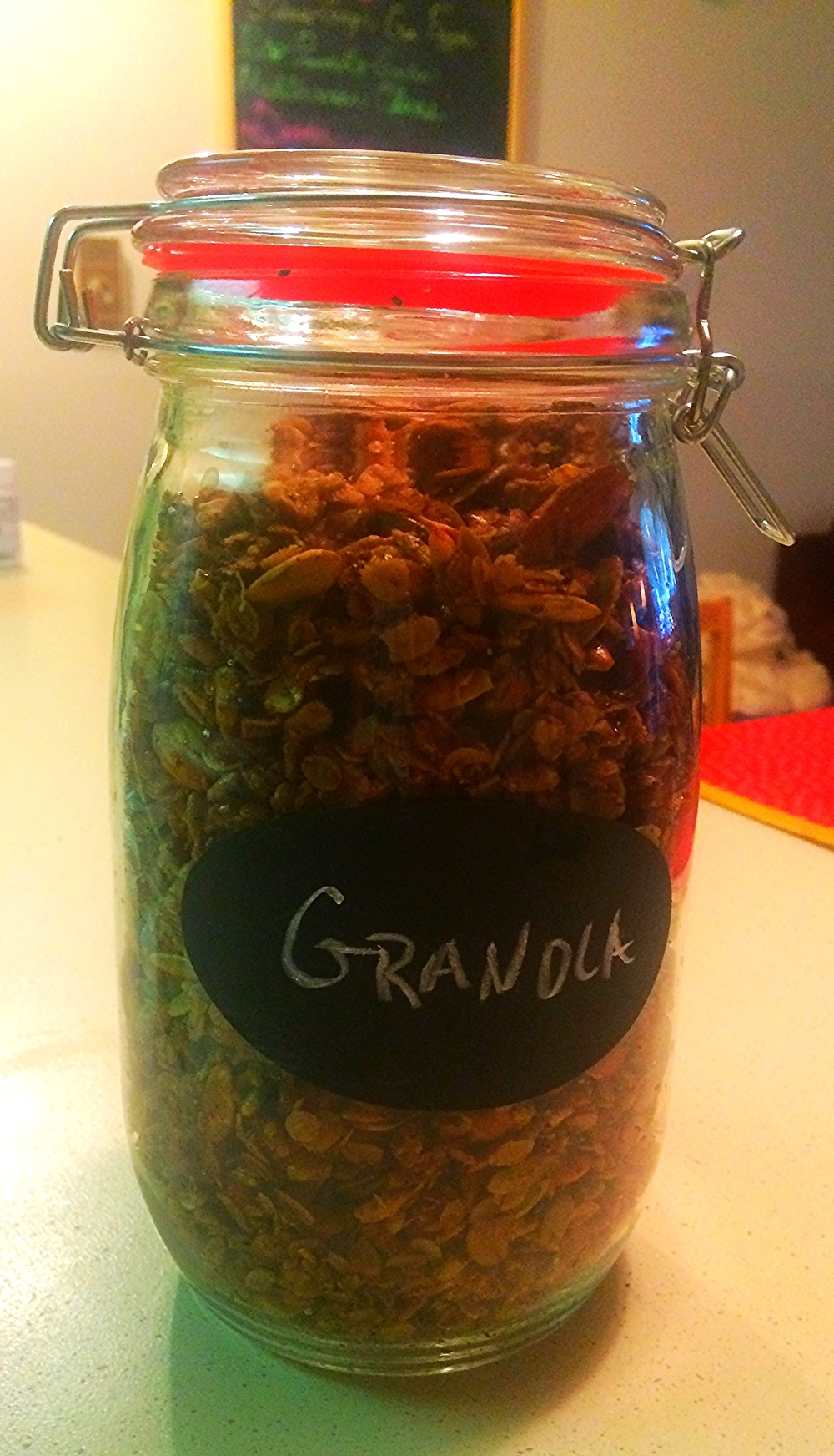 Granola fresh from the oven, cooled, and ready for pantry storage.