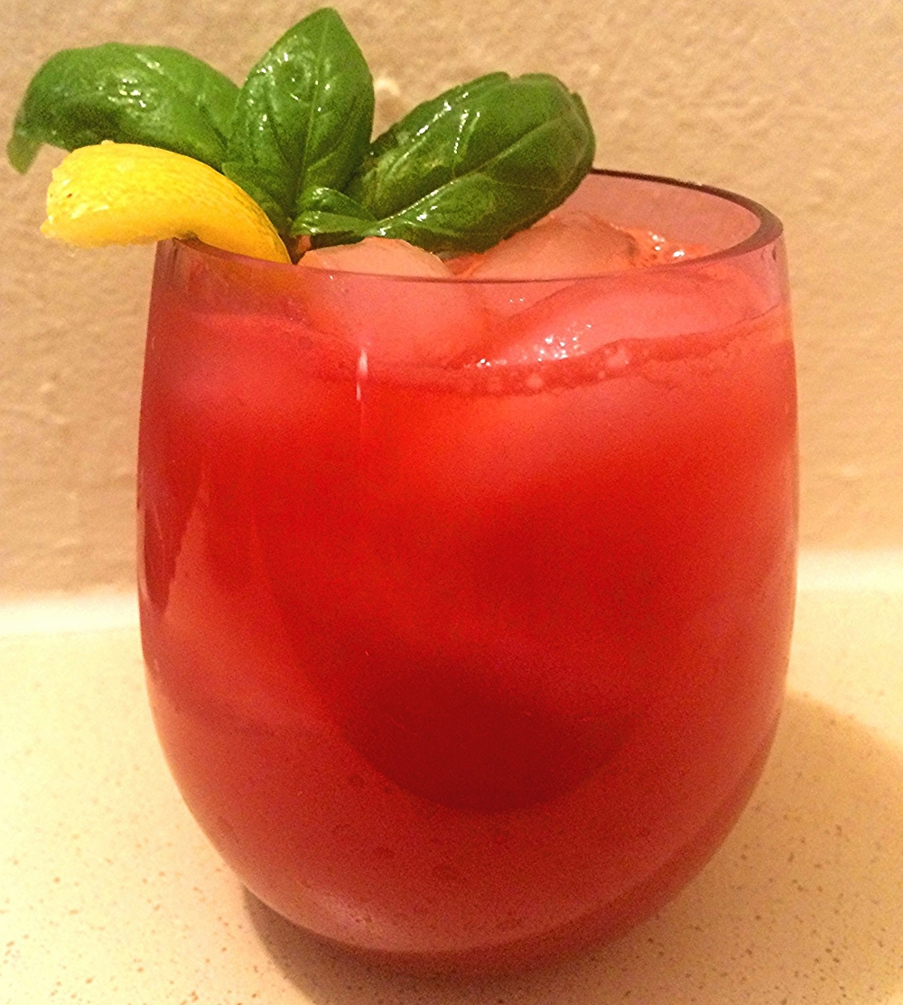 Watermelon cooler (here made with basil, lemon, and lime) ready for an evening on the porch!