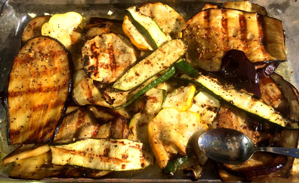 Grilled veggies ready for the table, yum!