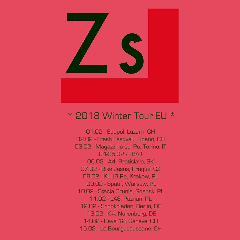 ZS 2018 winter tour dates in support of full-length album 'NOTH'