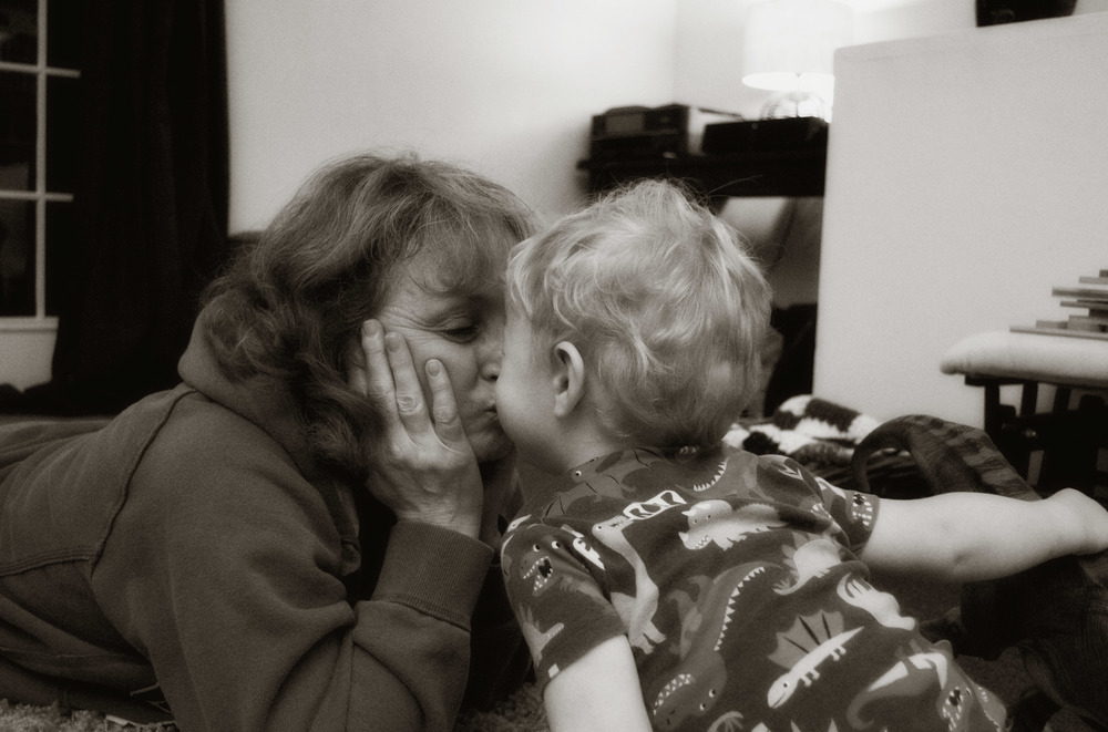 Grandma Kisses BW.jpg