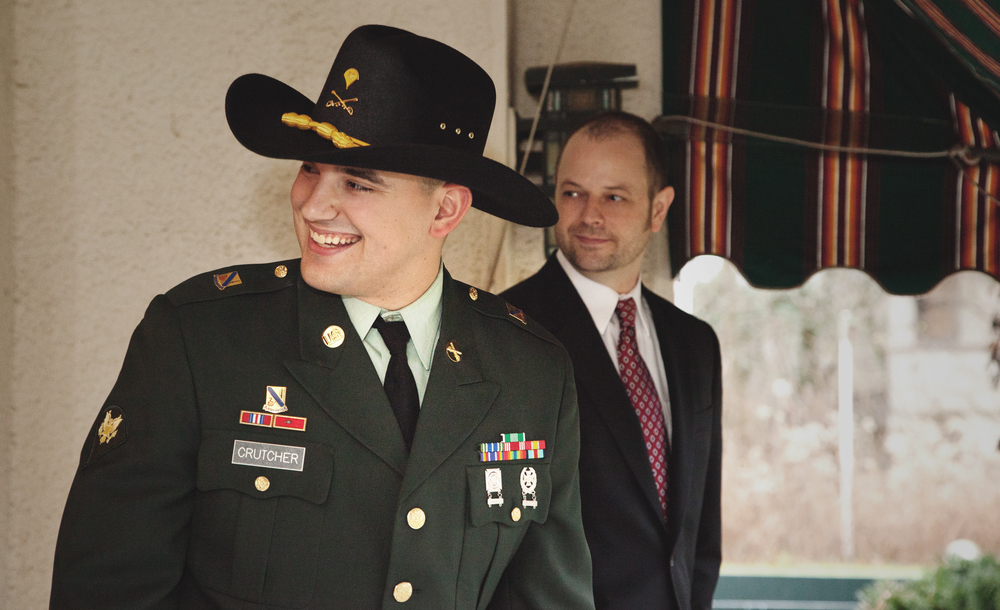 My husband chose the original Army dress greens for our wedding.  Along with a Stetson and Spurs - Cavalry Scout formals.  He wears his service proudly as he finishes his last year with the National Guard and continues his career as a Police Officer.  My brother, behind him spent countless hours becoming a Paramedic and now saves lives  He puts himself in situations that are difficult for us to hear.  Like my husband, he does this proudly..