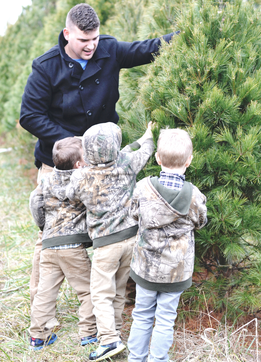 the boys are so strong I didn't have to cut the tree down - they pushed it to the ground!  all those push ups for 'every toy still left out' have paid off *wink