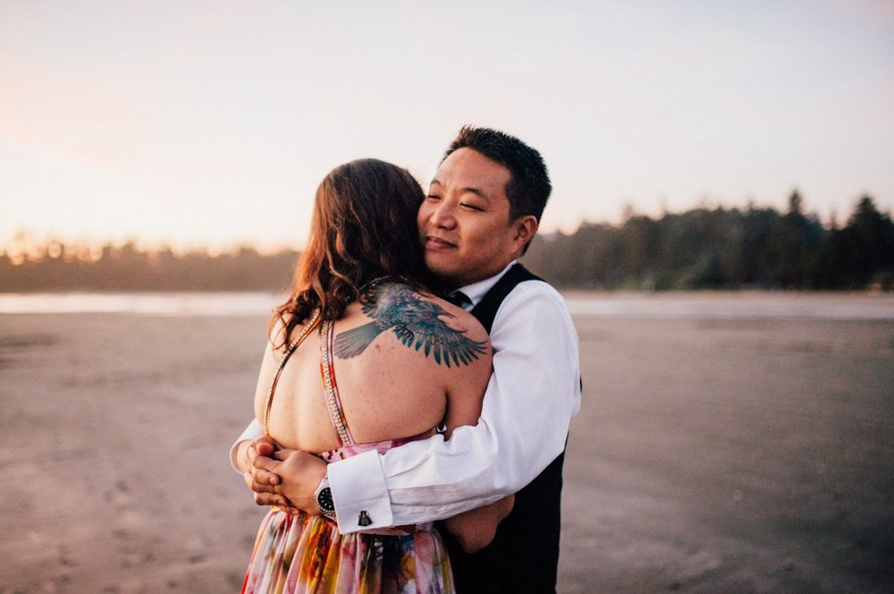 Tofino couple embrace
