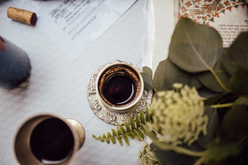 Jewish wine at wedding