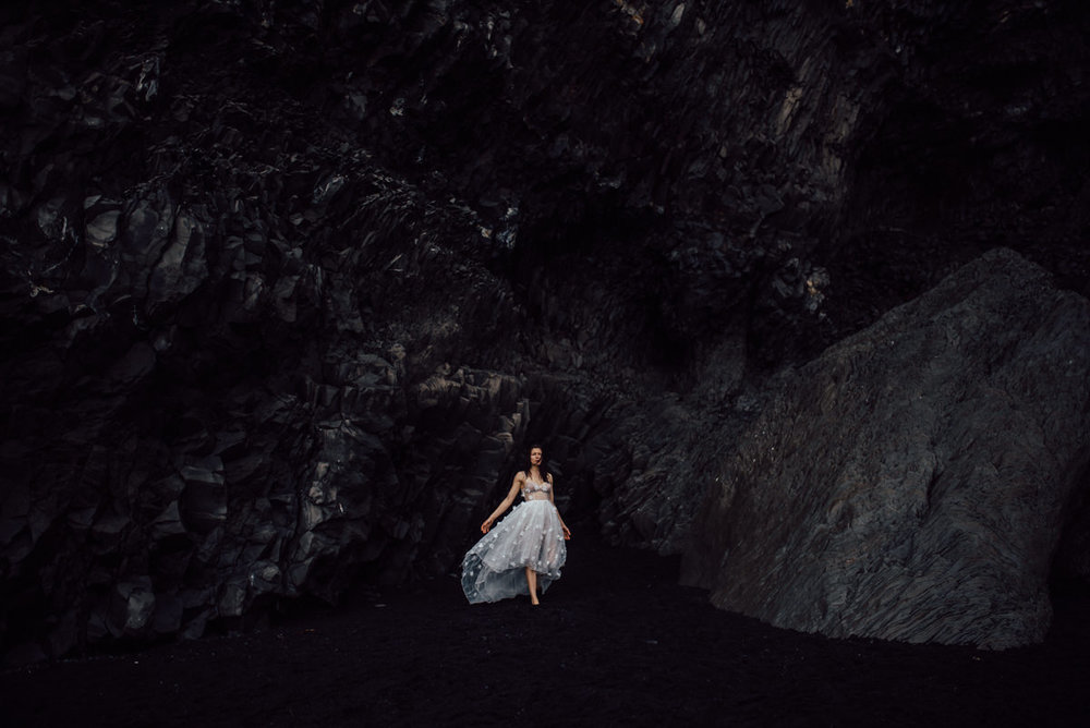 Dark and moody Iceland wedding