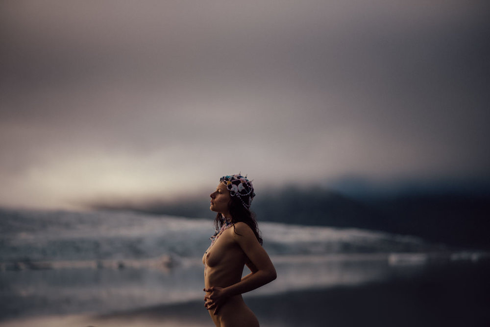 Nude portrait at glacier