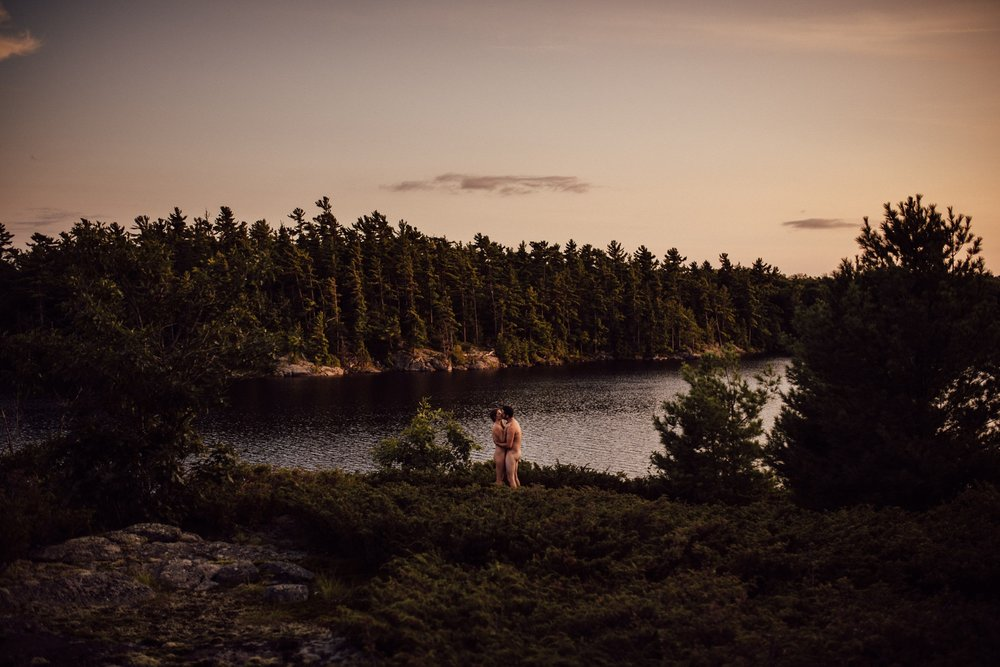 Nude engagement session at Massasauga