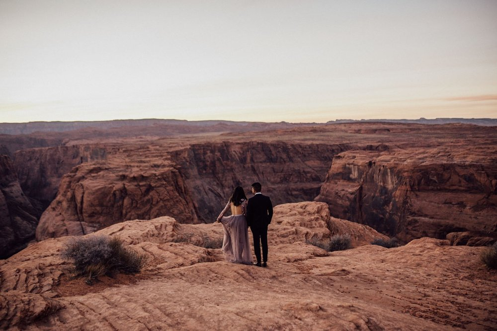 Engaged couple at Horseshoe Bend
