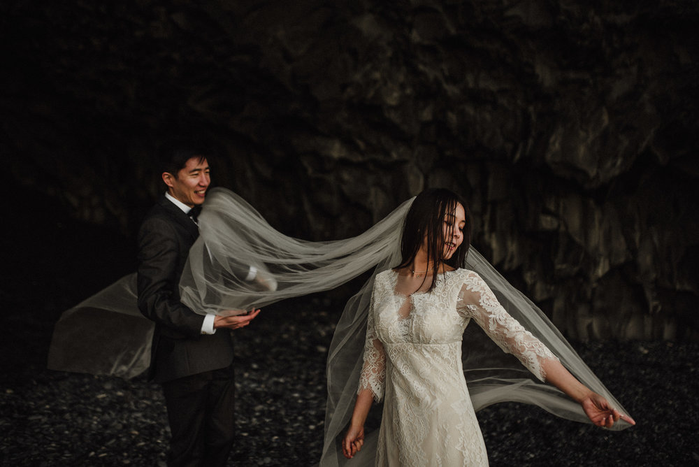 Iceland beach elopement