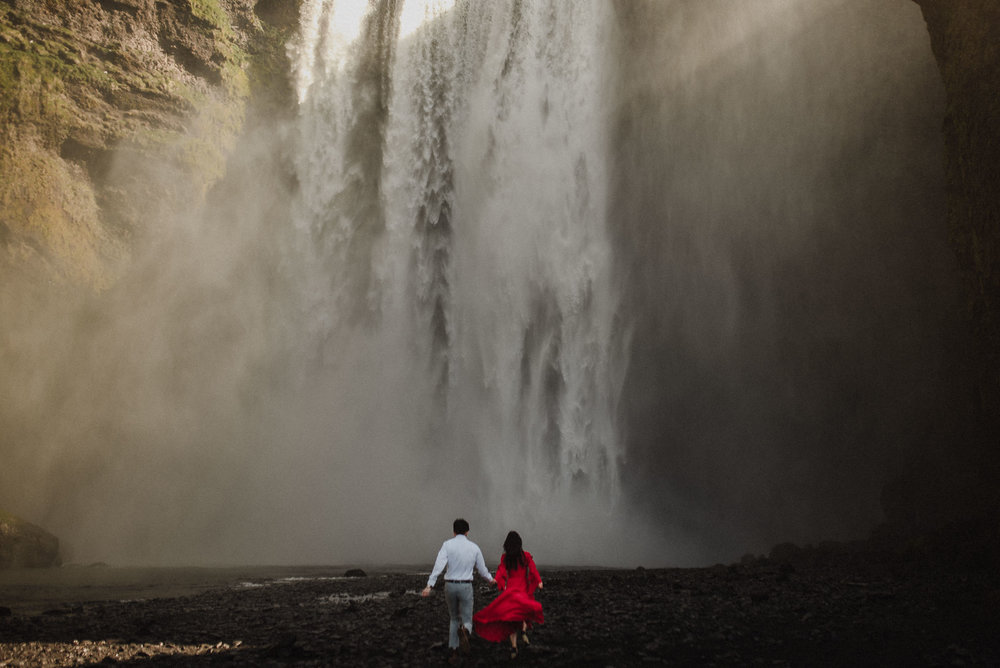 skogafoss iceland elopement photos