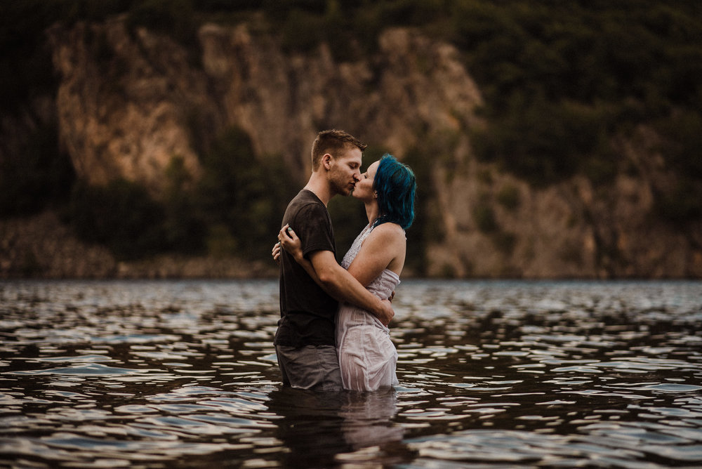 couple kissing in water