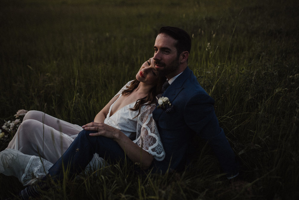 dark and moody sunset wedding photos