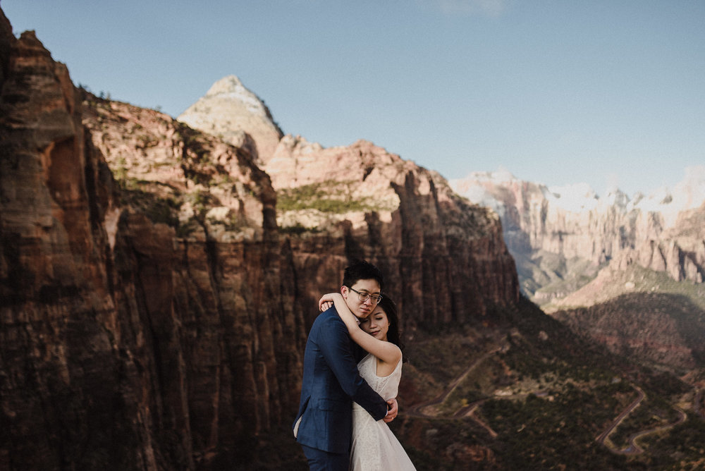 dreamy zion elopement canyon overlook