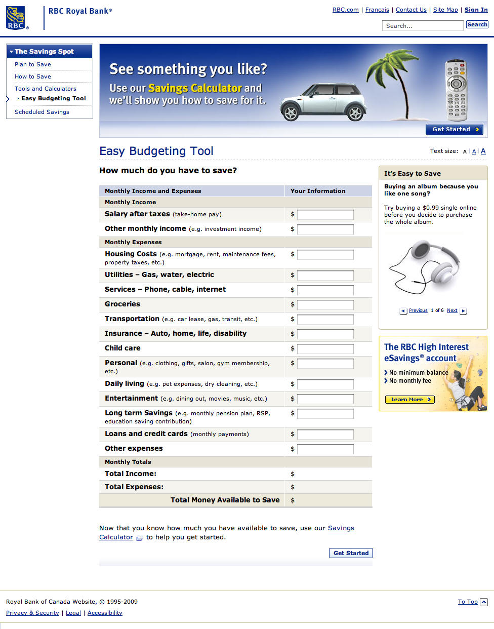 Easy Budgeting Tool - The Savings Spot - RBC Royal Bank (20090117).png