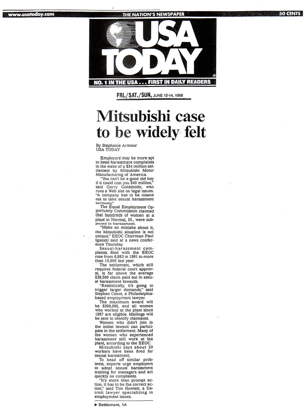 usa today-june 12-14, 1998-mitsubishi case to be widely felt page 1.jpg