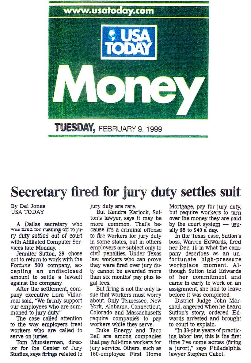 usa today-february 9, 1999-secretary fired for jury duty settles suit.jpg