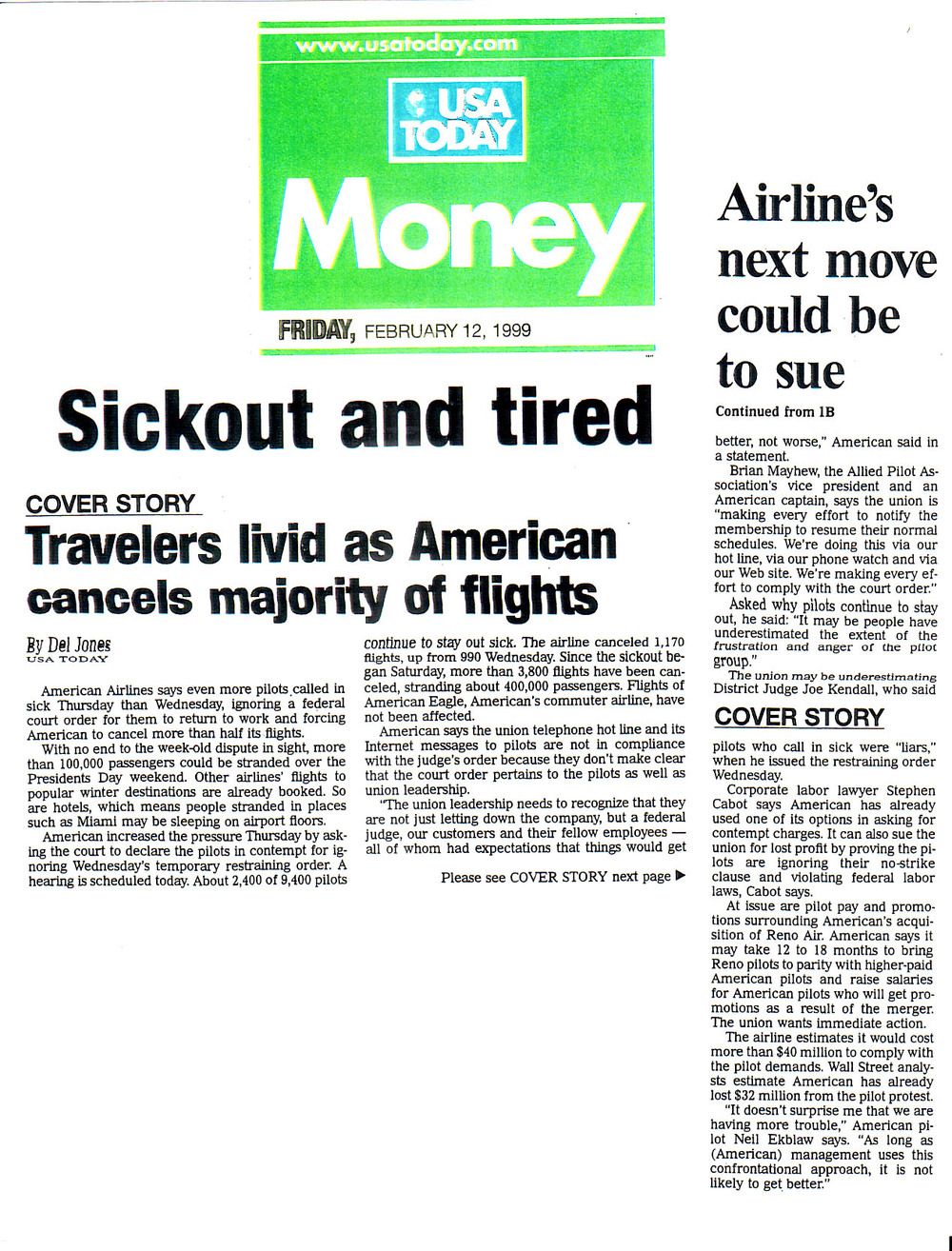 usa today-february 12, 1999-travelers livid as american cancels majority of flights.jpg