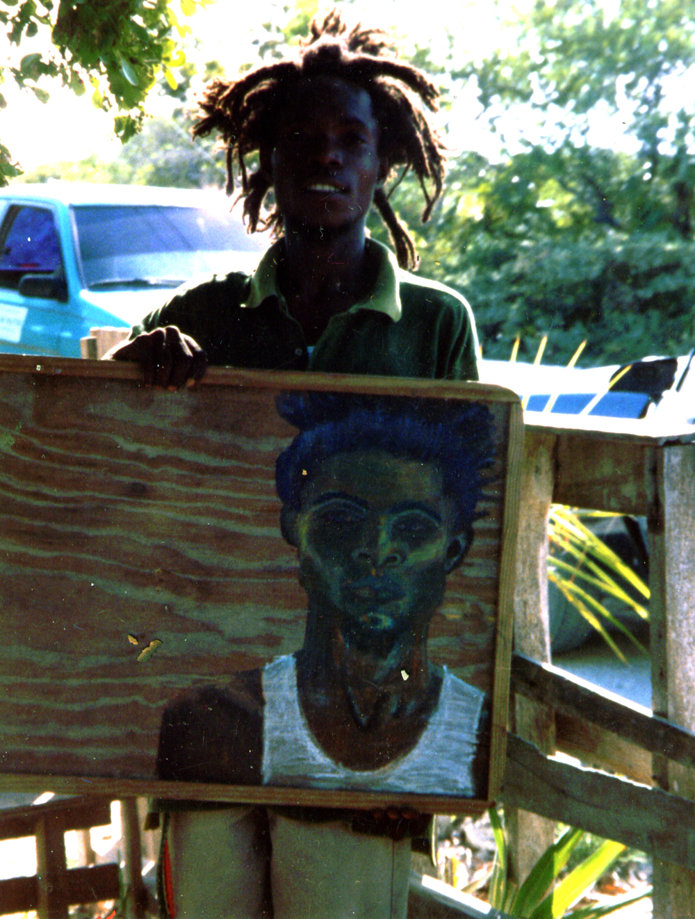 SHAQ      1998 ,  local rasta from the Bight, Providenciales, Turks and Caicos.  GIFT TO SHAQ    Watercolor crayon on wood