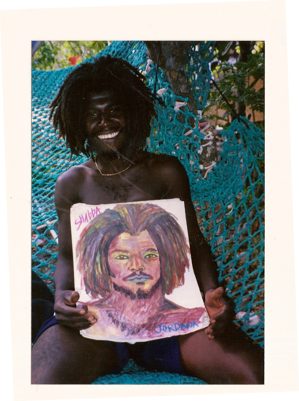 SHABBA    1998 ,  local Rasta from King's Town, Providenciales, Turks and Caicos.  BURNED IN FIRE    Watercolor crayon on paper